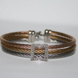 Tri colored and diamond sterling silver bracelet